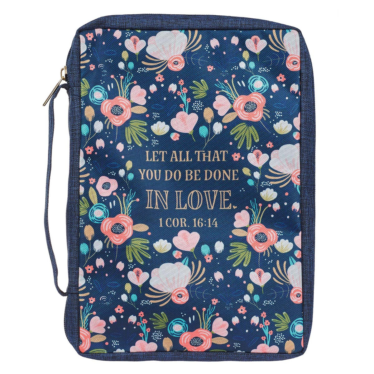 Let All That You Do Be Done In Love Floral Navy (Polyester Bible Bag)